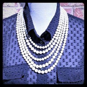 5 Strand layered bead necklace Ivory